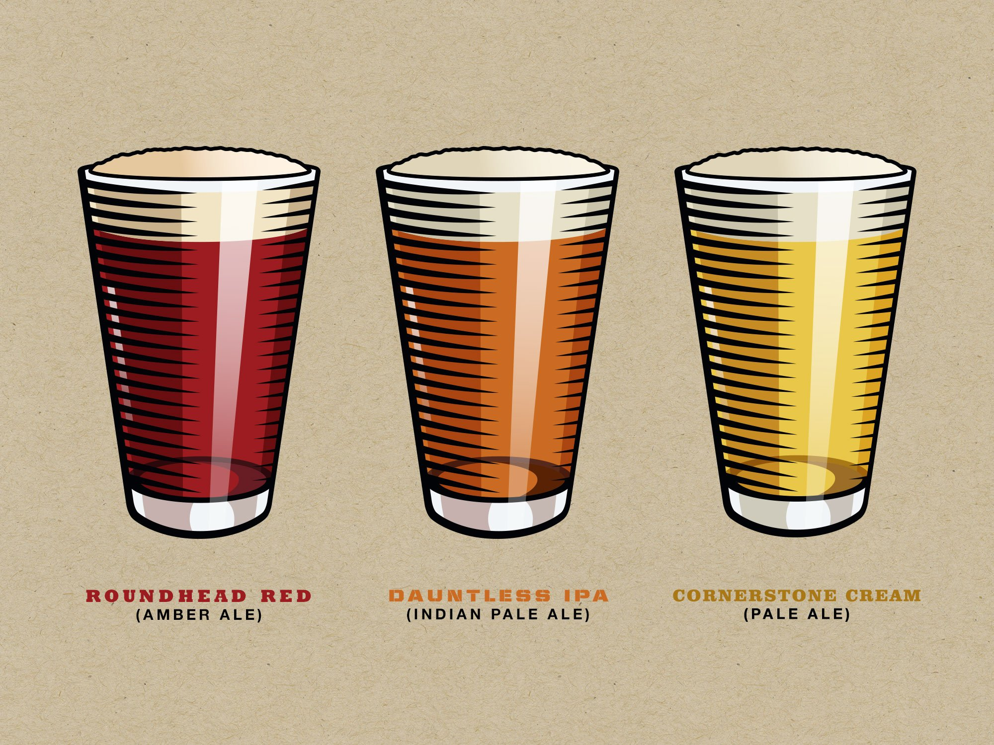 Three illustrations of beer glasses for Solid Rock Brewing's sixpack cartons and labels